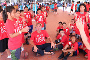 Team USA athlete Jesse Smith celebrates the two year countdown to the 2020 Olympic Games in Tokyo at a Youth Sports Clinic at the Japanese American Community Center on July 24, 2018 in Los Angeles, California.