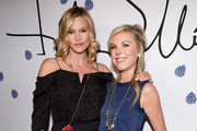 Actress Natasha Henstridge (L) and designer Tyler Ellis arrive at Tyler Ellis Celebrates 5th Anniversary And Launch Of Tyler Ellis x Petra Flannery Collection at Chateau Marmont on January 31, 2017 in Los Angeles, California.