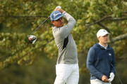 (L-R) Rickie Fowler of the United Statesplays his shot from the second tee as Jordan Spieth of the United States looks on during a practice round prior to the 120th U.S. Open Championship on September 15, 2020 at Winged Foot Golf Club in Mamaroneck, New York.
