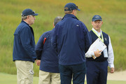 Mike Davis, Executive Director of the USGA, looks on during a practice round prior to the 2018 U.S. Open at Shinnecock Hills Golf Club on June 13, 2018 in Southampton, New York.