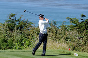 Edoardo Molinari of Italy hits his tee shot on the tenth hole during the first round of the 110th U.S. Open at Pebble Beach Golf Links on June 17, 2010 in Pebble Beach, California.