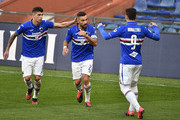 Fabio Quagliarella of UC Sampdoria celebrates with team mates during the Serie A match between UC Sampdoria and  Hellas Verona at Stadio Luigi Ferraris on March 8, 2020 in Genoa, Italy.
