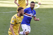 Amir Rrahmani of Hellas Verona and Fabio Quagliarella of UC Sampdoria during the Serie A match between UC Sampdoria and  Hellas Verona at Stadio Luigi Ferraris on March 8, 2020 in Genoa, Italy.
