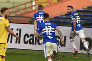 Fabio Quagliarella of UC Sampdoria celebrates after score penalty 2-1 during the Serie A match between UC Sampdoria and  Hellas Verona at Stadio Luigi Ferraris on March 8, 2020 in Genoa, Italy.