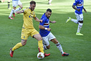 Amir Rrahmani of Hellas Verona and Fabio Quagliarella of UC Sampdoria battle for the ball during the Serie A match between UC Sampdoria and  Hellas Verona at Stadio Luigi Ferraris on March 8, 2020 in Genoa, Italy.