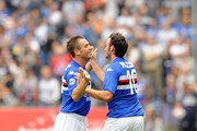Giampaolo Pazzini (R)  and Antonio Cassano of UC Sampdoria after the first goal during the Serie A match between UC Sampdoria and Parma FC at Stadio Luigi Ferraris on October 4, 2009 in Genoa, Italy.
