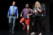 Matt Besser, Horatio Sanz and Amy Poehler attend the UCB's 20th Annual Del Close Improv Marathon Press Conference at UCB Theatre on June 29, 2018 in New York City.