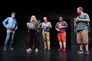 Matt Besser, Amy Poehler, Matt Walsh, Horatio Sanz and Ian Roberts attend the UCB's 20th Annual Del Close Improv Marathon Press Conference at UCB Theatre on June 29, 2018 in New York City.