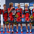 Silvan Dillier Photos - (l tor) Silvan Dillier; Tejay van Garderen; Daniel Oss; Manuel Quinziato; Peter Velits and Rohan Dennis stand on the podium after their victory in the Elite Men's Team Time Trial on day one of the UCI Road World Championships on September 21, 2014 in Ponferrada, Spain. - UCI Road World Championships - Day One