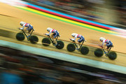 Ed Clancy, Steven Burke, Owain Doull and Andrew Tennant of Great Britain Cycling Team compete in the Men's Team Pursuit qualifying round during day one of the UCI Track Cycling World Championships at the National Velodrome on February 18, 2015 in Paris, France.