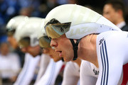 Ed Clancy, Steven Burke, Owain Doull and Andrew Tennant of the Great Britain Cycling Team wait to start the Men's Team Pursuit Final during day two of the UCI Track Cycling World Championships at the National Velodrome on February 19, 2015 in Paris, France.