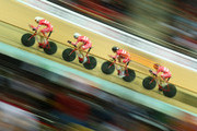 Casper Von Folsach, Daniel Hartvig, Anders Holm and Rasmus Christian Quaade of Denmark compete in the Men's Team Pursuit qualifying round during day one of the UCI Track Cycling World Championships at the National Velodrome on February 18, 2015 in Paris, France.