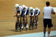 Andy Tennant, Owain Doull, Ed Clancy and Steven Burke of Great Britain on their way to win gold in the Men's Team Pursuit Final on day one of the UCI Track Cycling World Cup at Manchester Velodrome on November 1, 2013 in Manchester, England.
