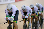 Jack Bobridge, Alexander Edmondson, Michael Hepburn and Mitchell Mulhern of Australia during the Mens Team Pursuit semi-final during the 2015 UCI Track Cycling World Cup on December 5, 2015 in Cambridge, New Zealand.