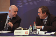 UEFA President Michel Platini (R) talks with UEFA General Secretary Gianni Infantino at the start of the EUFA Executive Committee meeting on March 23, 2010 in Tel Aviv, Israel. The Executive Committee meeting takes place ahead of the XXXIV Ordinary UEFA Congress in Tel Aviv on Thursday this week.