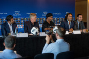 Christian Karembeu answers questions during the Press Conference of Match for Solidarity on April 20, 2018 at Grand Hotel Kempinski in Geneva, Switzerland.