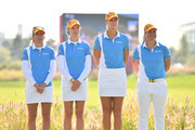 Sweden players line up for the national anthem prior to the Pool B match between United States and Sweden on day one of the UL International Crown at Jack Nicklaus Golf Club on October 4, 2018 in Incheon, South Korea.