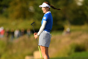 So Yeon Ryu of South Korea reacts on the 18th green during the Singles match against Lexi Thompson of the United States on day four of the UL International Crown at Jack Nicklaus Golf Club on October 7, 2018 in Incheon, South Korea.