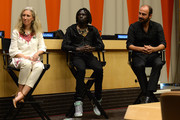 (L-R) Pernille Ironside, Emmanuel Jal and Kinan Azmeh speak at the UN Celebrates World Humanitarian Day at United Nations on August 19, 2014 in New York City.