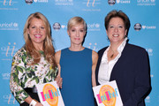 (L-R) CEO of the Home Shopping Network Mindy Grossman, UNICEF author Hilary Gumbel and President and CEO of the US Fund for UNICEF Caryl M. Stern attend UNICHEF Book Party at The Lamb's Club on September 15, 2014 in New York City.