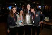 (L-R) U.S. Olympians Brita Sigourney, Maddie Bowman, Devin Logan and Keri Herman visit the USA House in the Olympic Village on February 11, 2014 in Sochi, Russia.