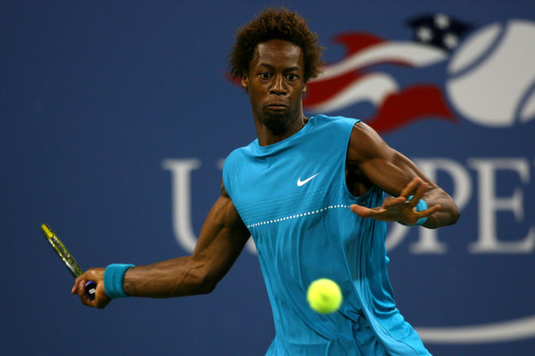 Gael Monfils Gael Monfils of France returns a shot to Rafael Nadal of Spain during day nine of the 2009 U.S. Open at the USTA Billie Jean King National Tennis Center on September 8, 2009 in the Flushing neighborhood of the Queens borough of New York City.
