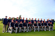 (Back row L-R) Vice-Captain Steve Stricker, Zach Johnson, Hunter Mahan, Jim Furyk, Keegan Bradley, Matt Kuchar, Jimmy Walker, Tom Watson, Captain of the United States, Bubba Watson, Phil Mickelson, Webb Simpson, Jordan Spieth, Patrick Reed, Rickie Fowler and Vice-Captains Andy North and Raymond Floyd pose with their caddies during the USA team photocall ahead of the 2014 Ryder Cup on the PGA Centenary course at the Gleneagles Hotel on September 23, 2014 in Auchterarder, Scotland.