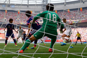 Tobin Heath #17 of the United States of America scores her goal against goalkeeper Ayumi Kaihori #18 of Japan in the FIFA Women's World Cup Canada 2015 Final at BC Place Stadium on July 5, 2015 in Vancouver, Canada.
