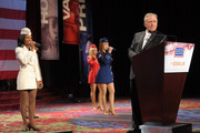 The Liberty Bells and TV Host Dick Cavett speak onstage at the 50th USO Armed Forces gala & Gold Medal dinner at The New York Marriott Marquis on December 7, 2011 in New York City.