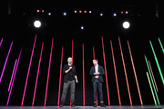 (L-R) Benoit Richer, Game Director at Ubisoft Montreal, and Elijah Wood, Actor and Creative Director at Spectrrevision, reveal 'Transference' during the Ubisoft E3 conference at the Orpheum Theater on June 11, 2018 in Los Angeles, California. The E3 Game Conference begins on Tuesday June 12.