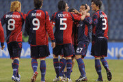 Jeda (2nd R) of Cagliari celebrates with teammates after scoring the opening goal of the Serie A match between Udinese Calcio and Cagliari Calcio at Stadio Friuli on February 24, 2010 in Udine, Italy.