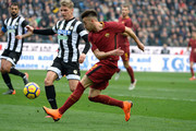 SJens Stryger Larsen (L) of Udinese Calcio  competes  with Stephan El Shaarawy of AS Roma during the serie A match between Udinese Calcio and AS Roma at Stadio Friuli on February 17, 2018 in Udine, Italy.