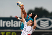 Carlo Del Fava of Aironi wins the line out ball from Lewis Stevenson of Ulster during the RaboDirect Pro12 match between Ulster Rugby and Aironi Rugby at Ravenhill on March 30, 2012 in Belfast, Northern Ireland.