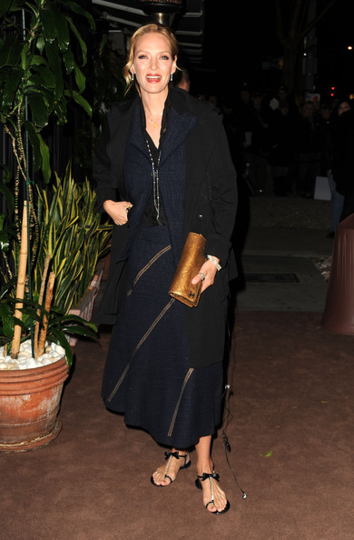 Uma Thurman Actress Uma Thurman arrives at the  Chanel and Charles Finch Pre-Oscar Dinner at Madeo Restaurant on February 26, 2011 in Los Angeles, California.