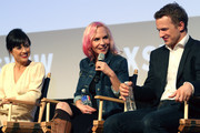 (L-R) Actress Constance Zimmer, co-creator/executive producer Marti Noxon, and actor Freddie Stroma speak onstage at the premiere of 'UnREAL' during the 2015 SXSW Music, Film + Interactive Festival at Austin Convention Center on March 16, 2015 in Austin, Texas.
