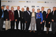 (L-R)  Graham Zusi, George Reudter, Roy Shenkel, George Brett, Fred Smith, Mayor Sly James, John Thompson, Harold Hall, Tom Butch, Congresswoman Vicky Hartzier and Peter Vermes attend the private screening of 'Unbroken' at the National World War I Museum on December 16, 2014 in Kansas City, Missouri.