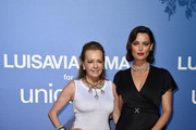 Caroline Scheufele and Catrinel Marlon attend the photocall at the Unicef Summer Gala Presented by Luisaviaroma at  on August 09, 2019 in Porto Cervo, Italy.
