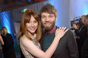 Actors Bryce Dallas Howard (L) and Seth Gabel attend the Universal, NBC, Focus Features, E! sponsored by Chrysler viewing and after party at The Beverly Hilton Hotel on January 12, 2014 in Beverly Hills, California.