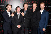 (L-R) Dan Stevens, Scott Frank, Liam Neeson, David Harbor and Adam David Thompson attend the Universal Pictures and Cross Creek Pictures with The Cinema Society screening of 'A Walk Among the Tombstones' at Chelsea Bow Tie Cinemas on September 17, 2014 in New York City.