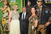 "(L-R) Gwendoline Christie, Robert Zemeckis, and Leslie Zemeckis attend Universal Pictures and DreamWorks Pictures' premiere of ""Welcome To Marwen"" at ArcLight Hollywood on December 10, 2018 in Hollywood, California."