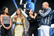 (L-R) Jordana Brewster, Maria Menounos , Michelle Rodriguez and Vin Diesel speak onstage during attends Universal Pictures Presents The Road To F9 Concert and Trailer Drop on January 31, 2020 in Miami, Florida.
