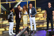 (L-R)  Ludacris, Sung Kang, Maria Menounos, Vin Diesel and John Cena speak onstage during Universal Pictures Presents The Road To F9 Concert and Trailer Drop on January 31, 2020 in Miami, Florida.