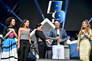 (L-R) Nathalie Emmanuel, Jordana Brewster, Michelle Rodriguez, Vin Diesel and Maria Menounos and speak onstage during Universal Pictures Presents The Road To F9 Concert and Trailer Drop on January 31, 2020 in Miami, Florida.