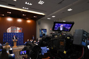 A detailed view of a live television feed recording as Dan Mullen speaks during an introductory press conference at the Bill Heavener football complex on November 27, 2017 in Gainesville, Florida.