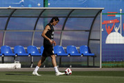 Edinson Cavani of Uruguay in action during a training session at Sports Centre Borsky on July 5, 2018 in Nizhny Novgorod, Russia.
