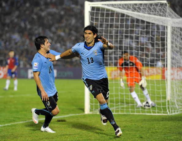 Sebastian Abreu of Uruguay celebrates his goal during the 2010 FIFA World Cup Play Off Second Leg Match between Uruguay and Costa Rica at The Estadio Centenario on November 18, 2009 in Montevideo, Uruguay.