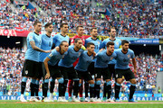 Uruguay pose for a team photo during the 2018 FIFA World Cup Russia Quarter Final match between Uruguay and France at Nizhny Novgorod Stadium on July 6, 2018 in Nizhny Novgorod, Russia.