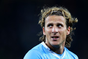 Diego Forlan of Uruguay looks on during the 2010 FIFA World Cup South Africa Quarter Final match between Uruguay and Ghana at the Soccer City stadium on July 2, 2010 in Johannesburg, South Africa.