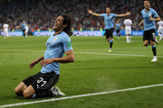 Edinson Cavani of Uruguay celebrates scoring his first goal during the 2018 FIFA World Cup Russia Round of 16 match between Uruguay and Portugal at Fisht Stadium on June 30, 2018 in Sochi, Russia.
