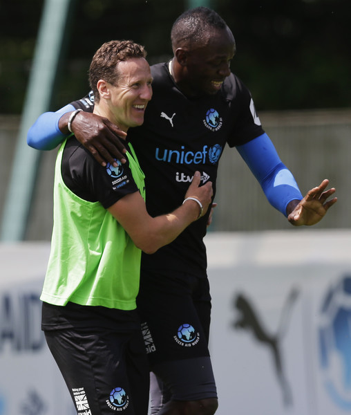 Soccer Aid For UNICEF Media Access [rest of the world,player,first-class cricket,team sport,sports,sports equipment,ball game,championship,soccer,football player,team,brendan cole,usain bolt,media access,part,joke,media access,unicef,soccer aid,training]